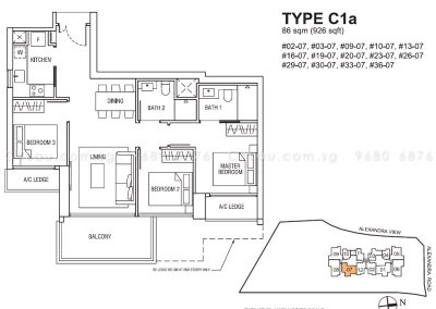 alex residences 3-bedroom c1a