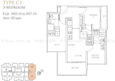 liv on wilkie 3-bedroom c1