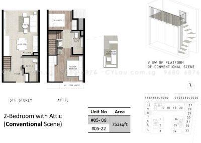 bijou 2-bedroom attic conventional