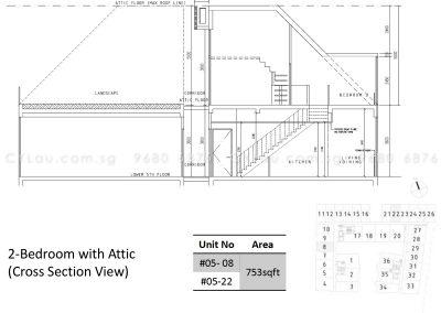 bijou 2-bedroom attic cross-section 1