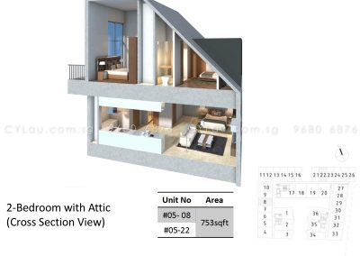 bijou 2-bedroom attic cross-section 2