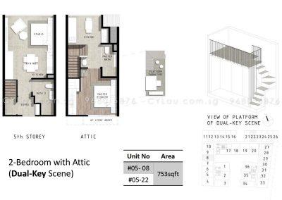 bijou 2-bedroom attic dual-key