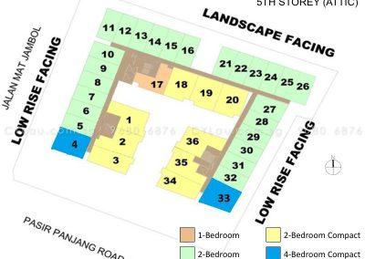 bijou site plan with units level 5